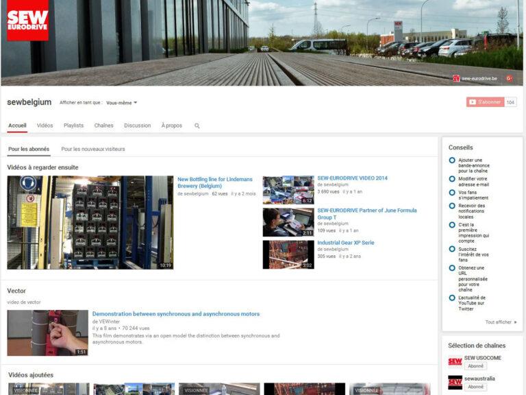 Page Youtube de SEW-EURODRIVE