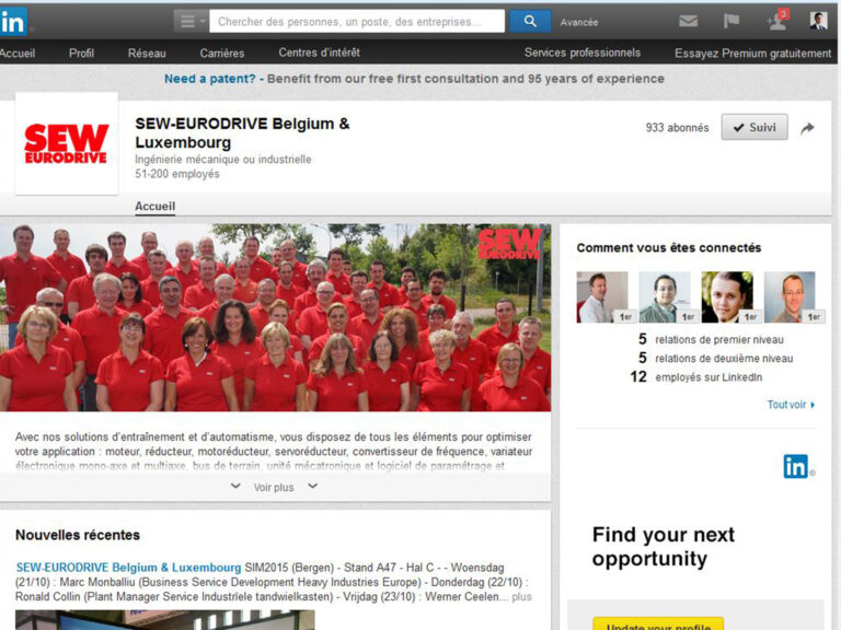 Page LinkedIn de SEW-EURODRIVE